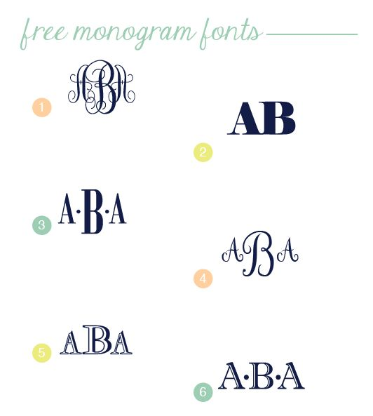 Free monogram fonts from the Blue Dollhouse  I love Bodoni    so