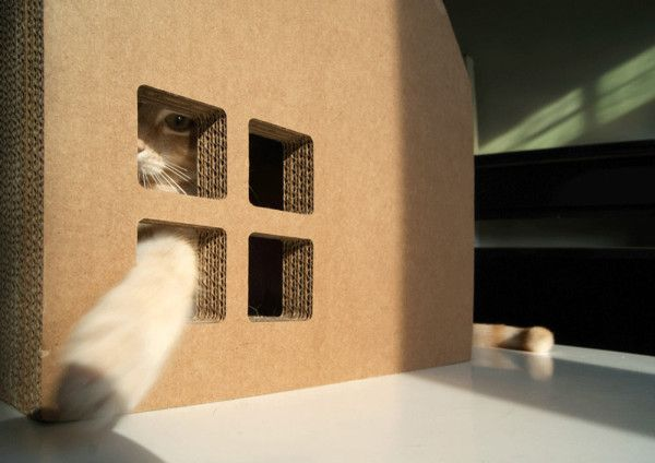 Krabhuis: A Cardboard House for Cats to Scratch - Design Milk