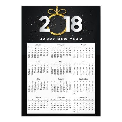 Happy New Year 2018 Black Gold  Magnetic Calendar Magnetic Card - invitations custom unique diy personalize occasions