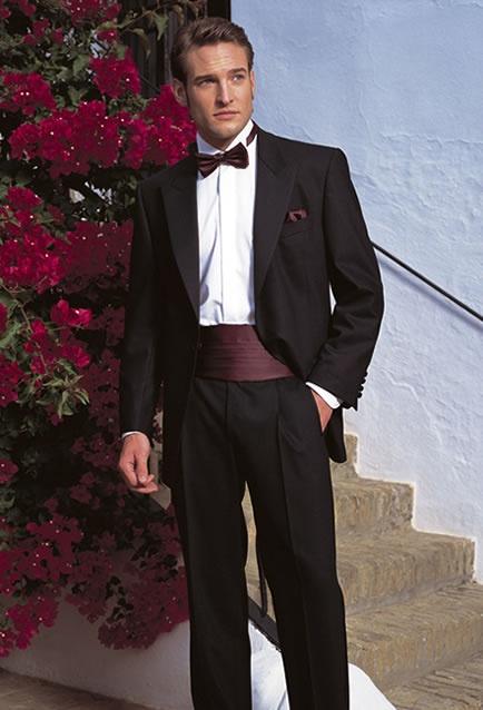 Groom In A Tux With Cummerbund Etc Wedding Suits