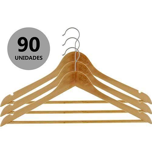 Conjunto Cabides de Madeira 90 Peças - A... - Shoptime.com