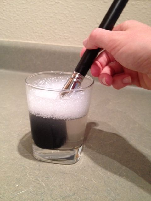 You will surprised to see all the makeup that is left in the water. How to properly clean your makeup brushes. (a tablespoon of white vinegar in a cup of hot water, and a 20 minute soak, followed by a hot, then cold rinse and pat dry will do it. Disinfects, dissolves grease/makeup, leaves no film, and inexpensive.)