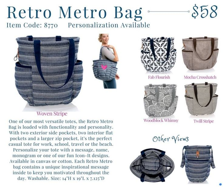 Retro Metro Bag With two exterior side pockets, two interior flat pockets and a larger zip pocket, it's the perfect casual tote for work, school, travel or the beach.