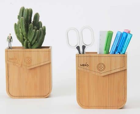 Bamboo Pen Pencil Holder Planter Flower Pot