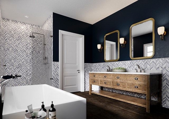Jeff Lewis On Instagram Jeff Lewis Carlton Gray Chevron Tile And Ink Blot From Jeff Lewis Paint Bathroom Design Jeff Lewis Living Room White Master Bathroom