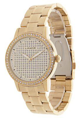 Relógio Lince LRG4159LCXKX dourado, com detalhes em strass e design moderno, perfeito para complementar looks com estilo.