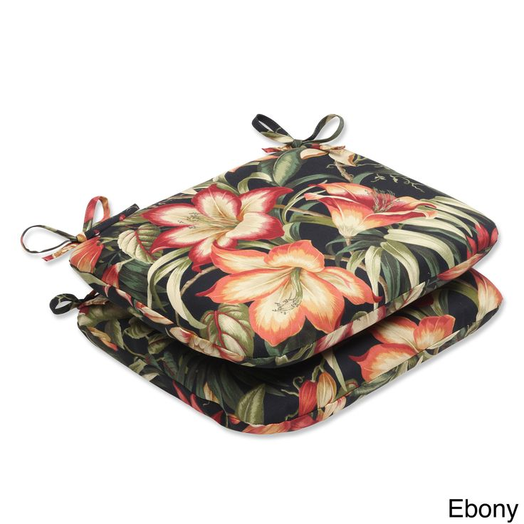 Pillow Perfect Outdoor Botanical Glow Rounded Corners Tropical Seat Cushion (Set of 2) (