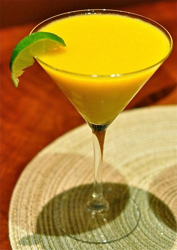 Mango Mimosa Martini: 2 cups frozen mango puree 2 shots vodka 1/2 can seltzer Champagne to top off drinks