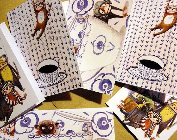 Mugs&Monkeys greeting cards by Signe Gabriel