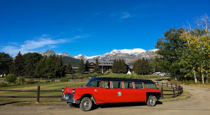 This historic Checker taxi still picks guests of Glacier Park Lodge up at the train station to deliver them to the Lodge, just as they have done for years.