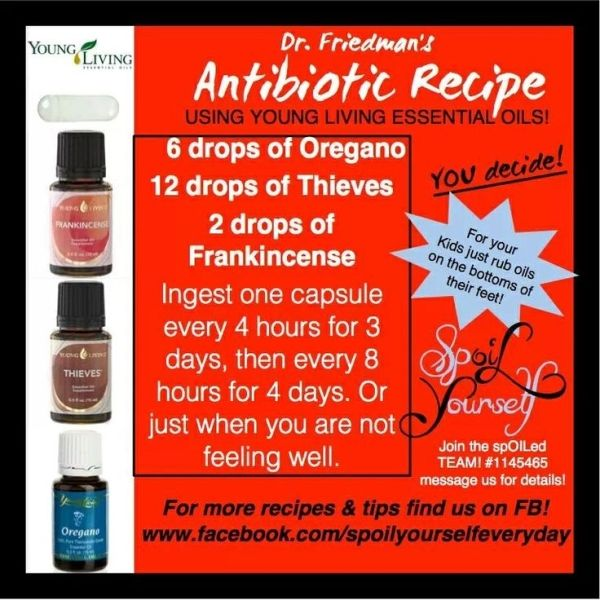 Young living essential oil antibiotic recipe for colds, flu, sickness, or emergency preparedness... by debra