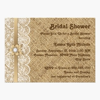 White lace, linen burlap wedding bridal shower cards featuring white lace on linen natural burlap or hessian with ribbon and flower in beige with metallic effect and a pearl. Love lace, pearl, and burlap!!