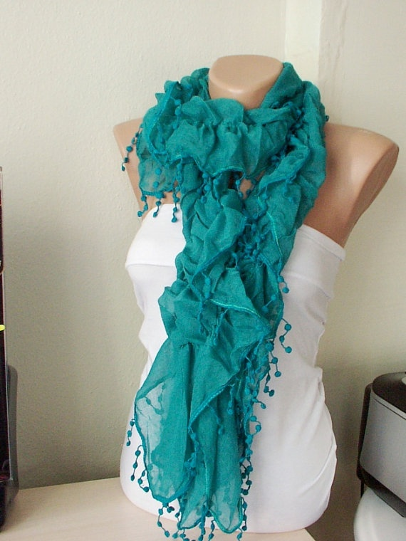 NEW 2012 Spring Model  Green Color Ruffle Scarf from 100 by Periay, $19.00: Pompom Lace, 100 Coton, Ruffle Scarf, Green Ruffles, Colors Ruffles, Ruffles Scarflov, Scarves, Green Colors, Ruffles Scarfs Lov