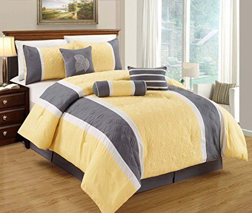 Leaf Applique Quilted Comforter Set Stripe Bed In A Bag Yellow Grey and White Queen Size Bedding >>> Want to know more, click on the image.