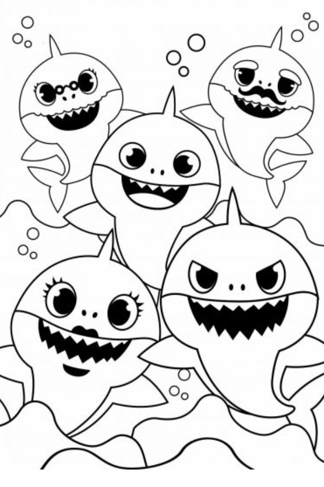 Baby shark family | Shark coloring pages, Shark painting ...