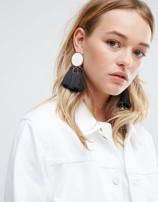 ASOS Mono Tassel Earrings