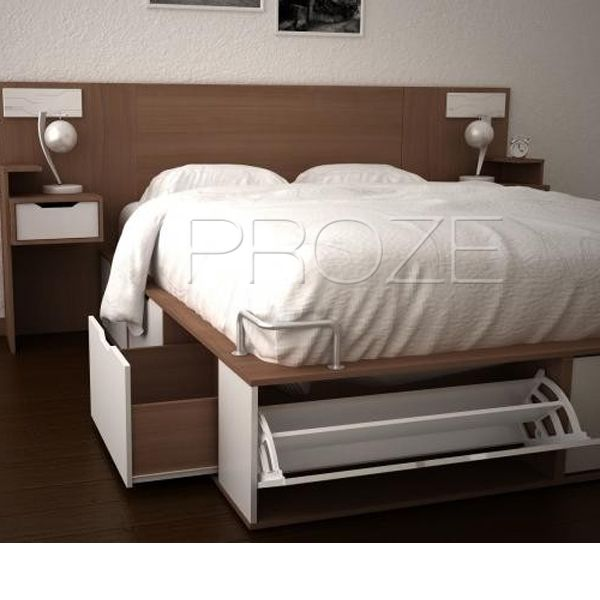 Cama 2 plazas con 6 cajones 2 botineros optimiza lugar de for Base de cama queen size con cajones