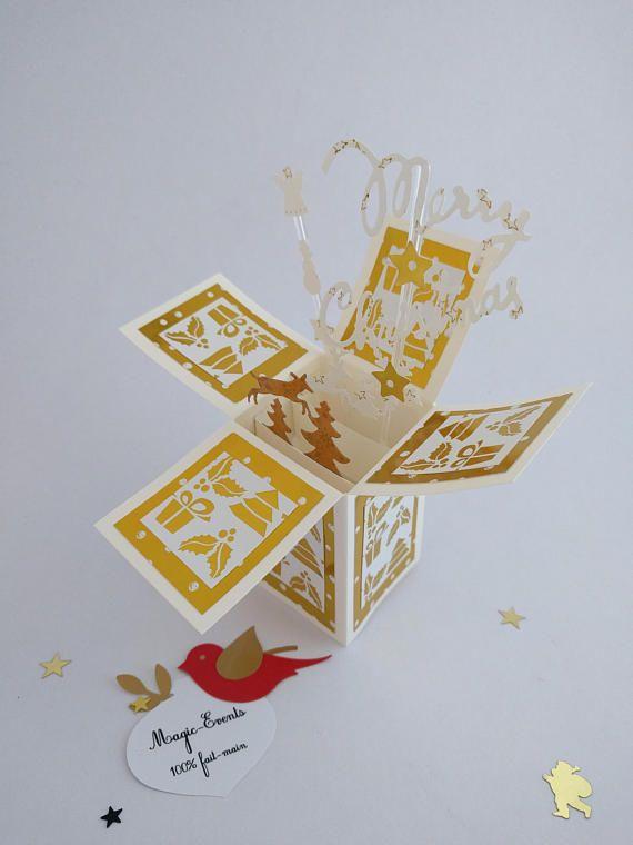 Carte boîte Pop-Up Merry Christmas