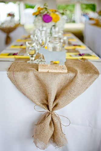 burlap table runner- (can buy burlap from burlapfabric.com) Love the tie at the end too.