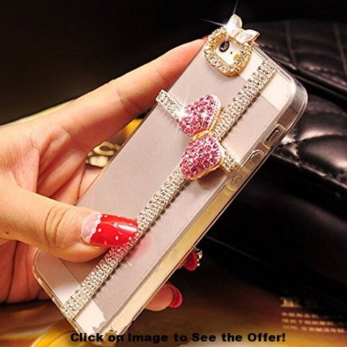 iPhone 6 Case, Hundromi(TM) 3d Handmade Clear Bling Bow Bowknot Crystal Rhinestone Diamond Skin Case Cover for iPhone 6 4.7 inch Screen – Crystal iPhone 6 Case