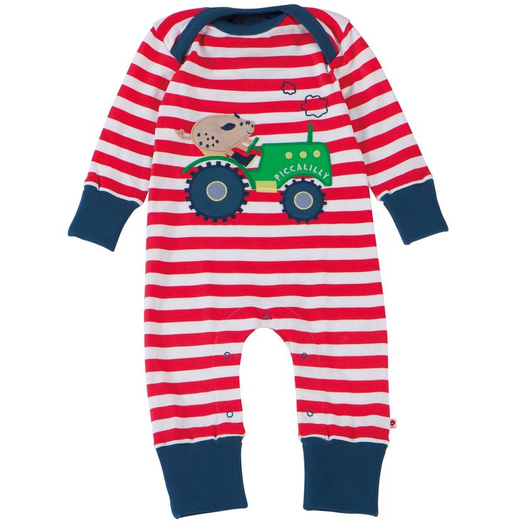 Playsuit - Tractor & Pig Applique - available in sizes newborn upto 18-24 months -RRP £22