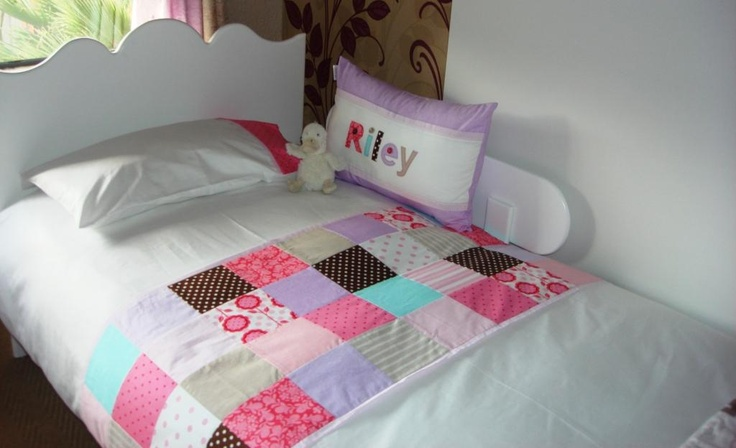 Custom ordered bed linen - patchwork style duvet cover + name scatter. Made by Tula-tu Baby Linen