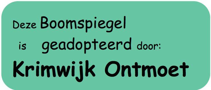 Alle foto's op dit bord zijn van de Krimwijk Ontmoet Boomspiegel adoptie. Voorbeeld van een bordje voor bij de boomspiegel. zie ook onze website http://krimwijkontmoet.wordpress.com en op twitter af en toe hoe het met de boom gaat http://twitter.com/krimwijkontmoet