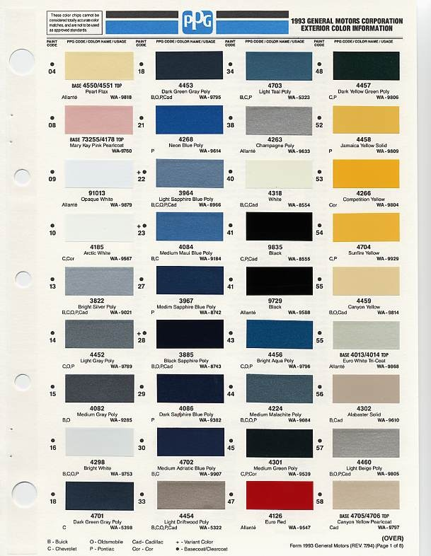 Gm Color Chips Color Chip Selection Auto Paint Colors
