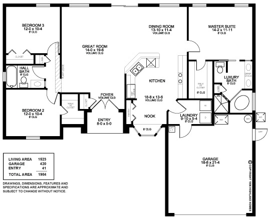 Highland homes lindsey ii 3 bedrooms 2 baths 2 car 3 bedroom 2 bath 2 car garage floor plans
