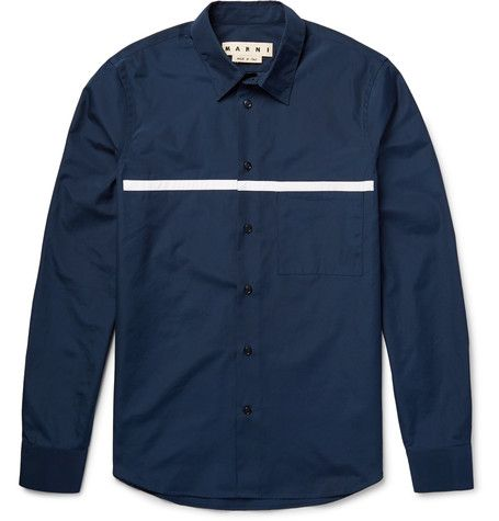 Slim-Fit Appliquéd Cotton-Poplin Shirt | MR PORTER