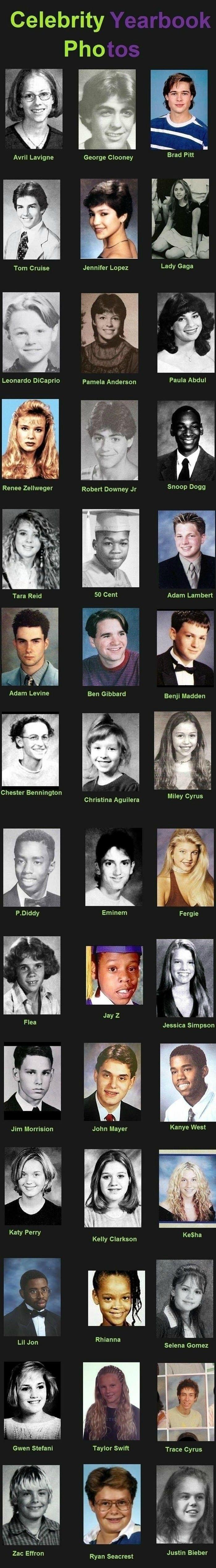 Celebrity Yearbook Photos - How they looked in high school. #Stars #Celebreties