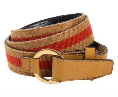 Cintura in tessuto e pelle arancione/biscotto