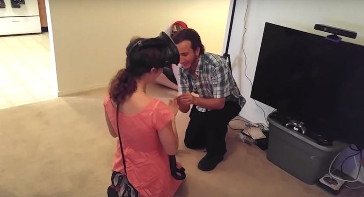 Two men used the VR application 'Tilt Brush' to ask one of life's most important…