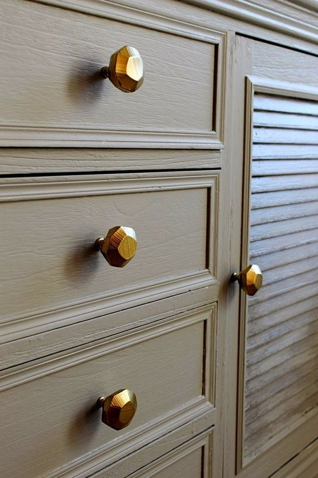 Makeover your dresser and cabinet hardware.