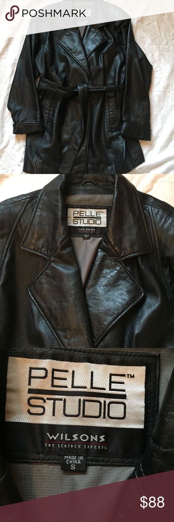 Wilson Leathwe Pelle Studio Jacket Black leather trench