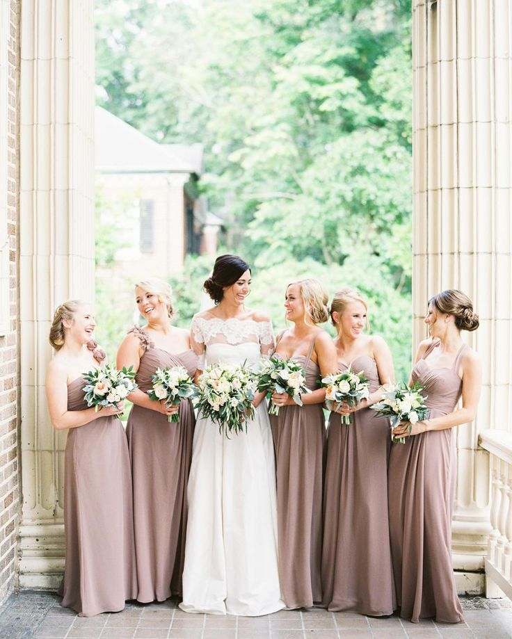 """""""We  a good earth tone! This bride pulled off the look perfectly by dressing her bridesmaids in different style gowns of the same color."""" Thanks to @billlevkoff for taking over our Instagram for today's #FashionFriday! Follow their account for more beautiful bridesmaid dresses  #theknot : @ashleybosnick   Bridesmaid dresses: #billlevkoff in Latte   Wedding dress: @jcrew via @angela4design"""