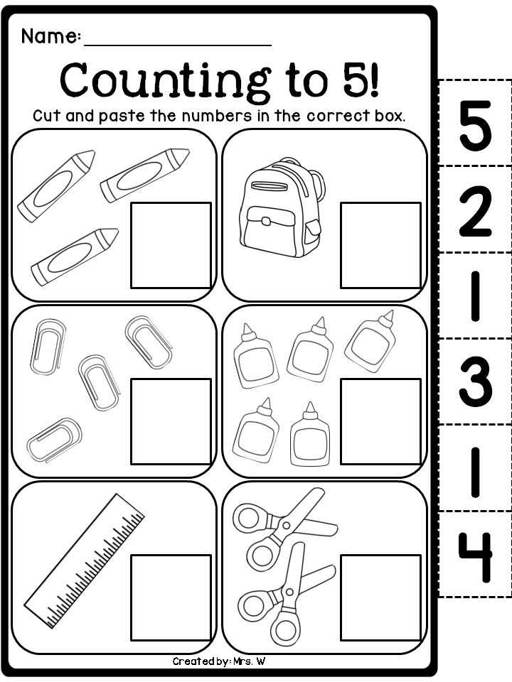 Back to School Literacy and Math - Counting to 5!