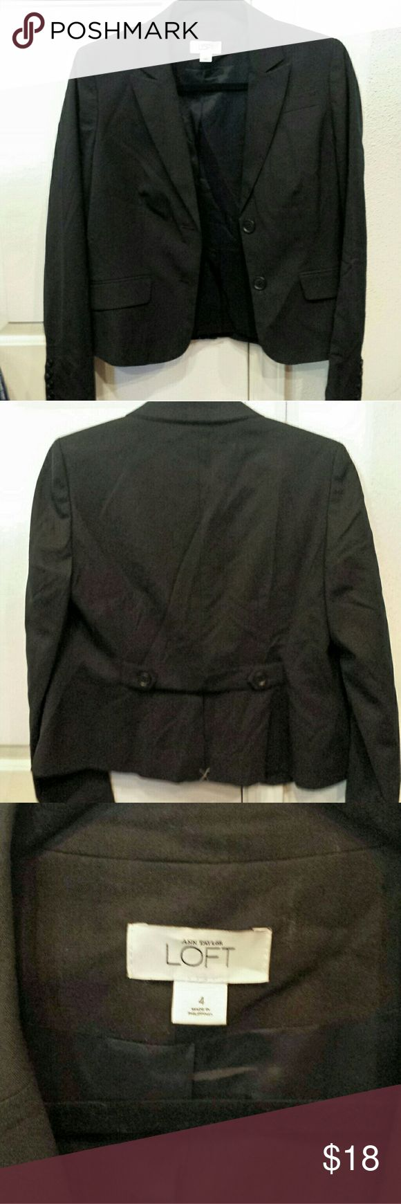 Anne Taylor Loft light wool 2 button Office Jacket NWOT. Bought it but forgot I did, never worn. Back of the Jacket vent is still closed with x mark with white thread from the store, u need to cut it off when u get it. Right side collar is missing 2 stitches 4 show, it's only for design not needed 4 funtion but u can easliy use your needle n bk threds to fix it, quick! 95% light wool 5% elastin, really nice work jacket! Ann Taylor Loft Jackets & Coats Blazers