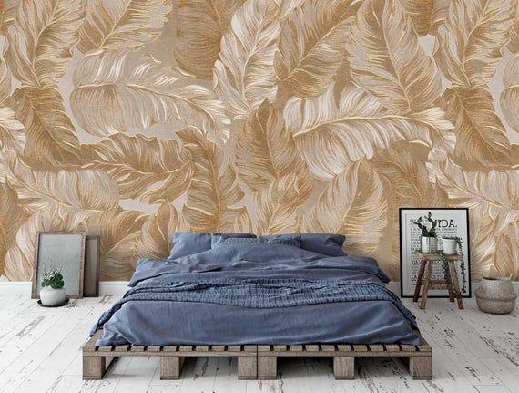 3d Tropicsgolden White Palm Leavestropical Plants Etsy Plant Wallpaper Self Adhesive Wallpaper Traditional Wallpaper
