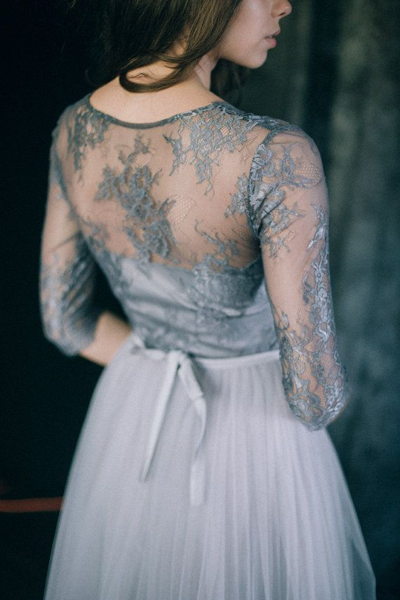 Wedding dress Space Light grey and dark bluish grey by LiluBridal