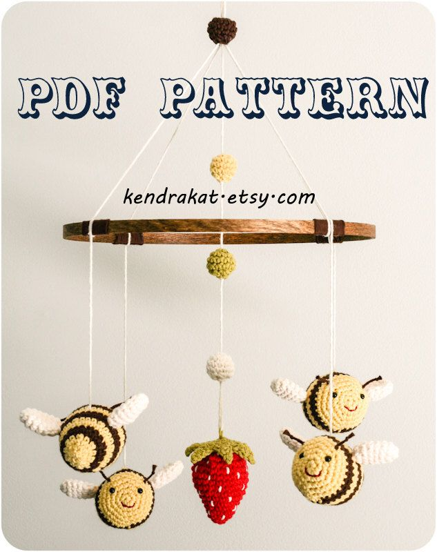 The Bee's Mobile Crochet Pattern by KendraKat on Etsy https://www.etsy.com/au/listing/106055451/the-bees-mobile-crochet-pattern
