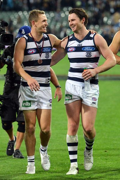AFL Rd 5 - Port Adelaide v Geelong - Selwood + Dangerfield celebrate the win