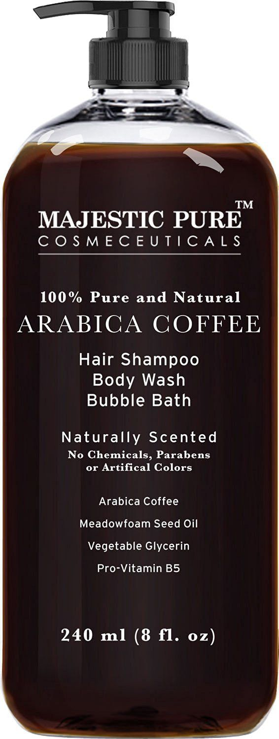 Majestic Pure 100% Arabica Bean Coffee Shampoo & Body Wash is naturally scented and infused with real, 100% Arabica bean coffee which is a great natural odor absorber, plus it's full of skin toning ca