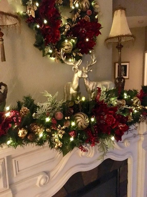 Set Of 2pc Luxury Christmas Wreath Garland Free Shipping Magnificent Pre Lit Pre Decorated Christmas Mantel Decorations Christmas Wreaths Christmas Garland