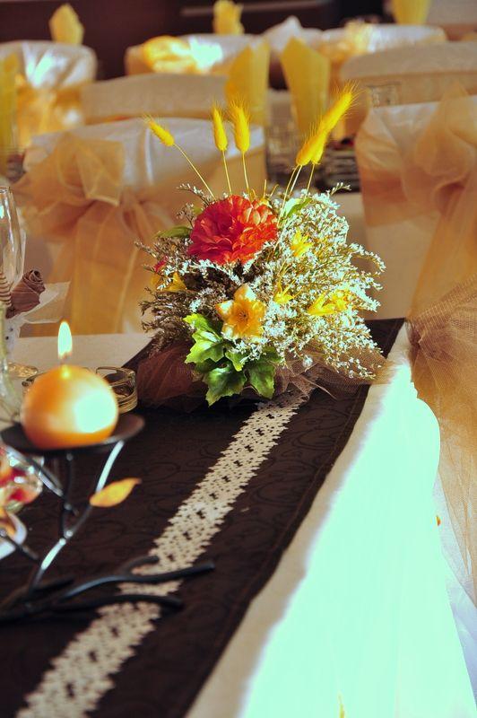 Died and silk flowers centerpiece
