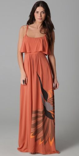 70's style birds Maxi dress LOVE