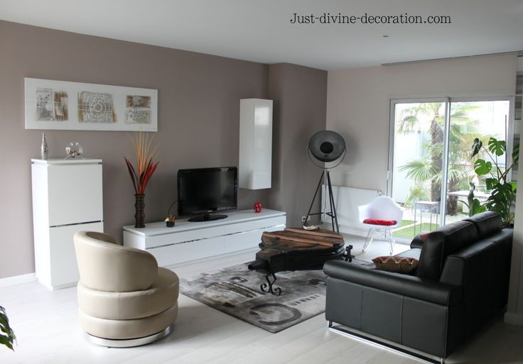 S jour contemporain taupe gris blanc noir living room pinterest salons and living rooms for Photo salon contemporain taupe