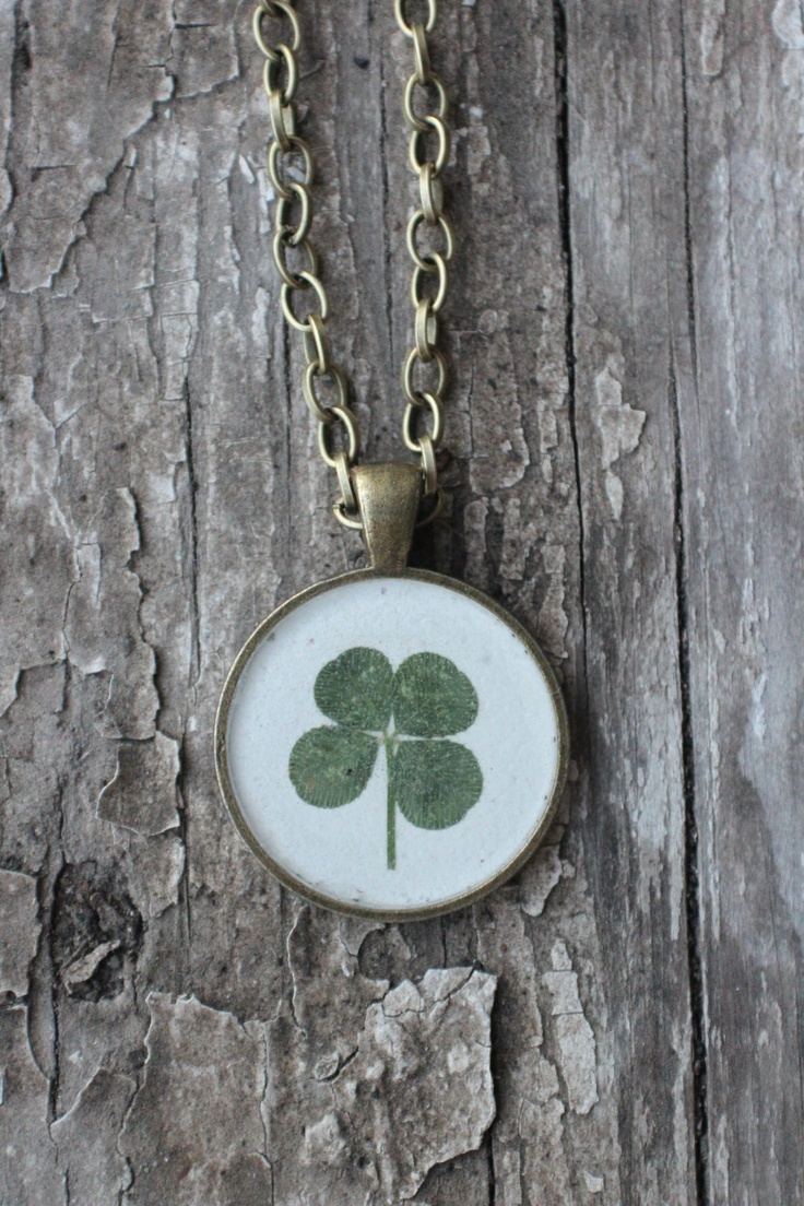 Green lucky shamrock necklace four leaf clover charm emerald green - Plain And Simple Luck Real Four Leaf Clover Necklace 25 00 Via Etsy