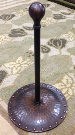Handcrafted copper Craftsman style paper towel holder.