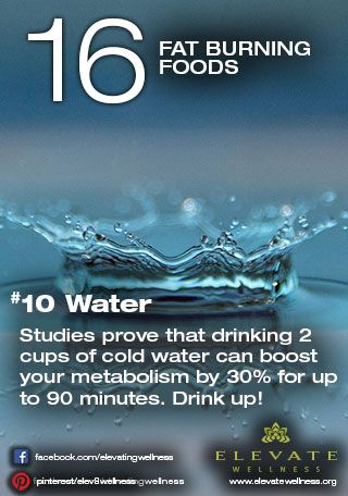 #10 Water  Studies prove that drinking 2 cups of cold water can boost your metabolism by 30% for up to 90 minutes. Drink up!